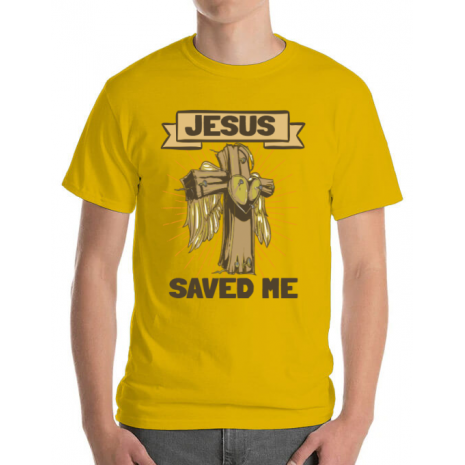 Tricou ADLER barbat Jesus Saved Me Galben
