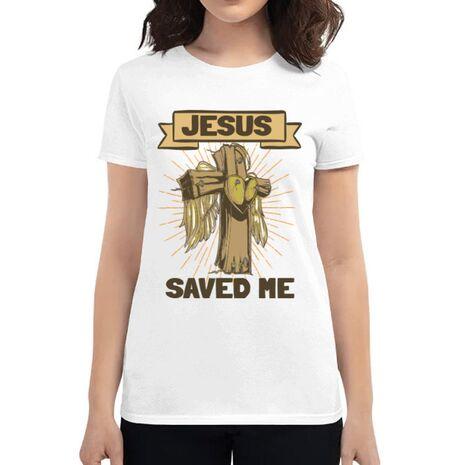Tricou ADLER dama Jesus Saved Me Alb