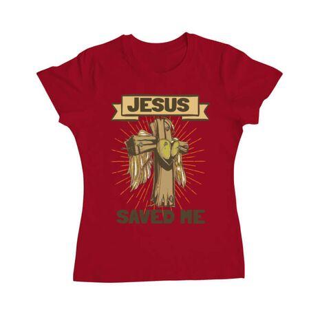 Tricou ADLER dama Jesus Saved Me Rosu