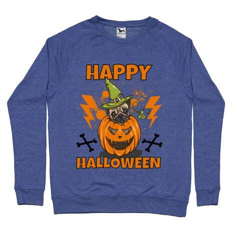 Bluza ADLER barbat Halloween Pug Albastru melanj