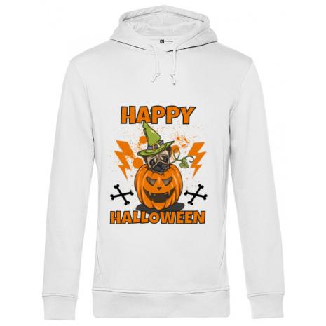 Hoodie barbat cu gluga Halloween Pug Alb
