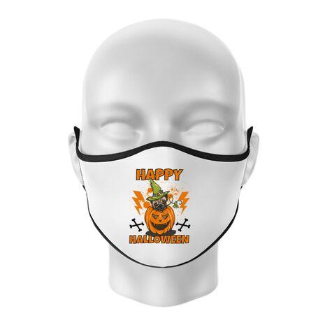 Masca personalizata reutilizabila Halloween Pug Alb
