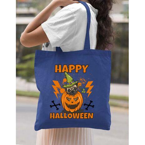 Sacosa din panza Halloween Pug Albastru regal