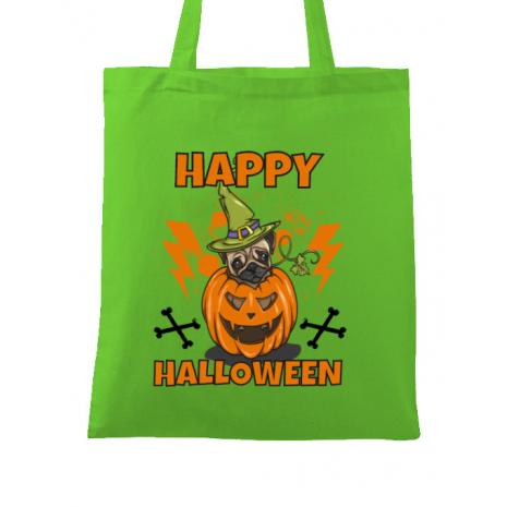 Sacosa din panza Halloween Pug Verde mar