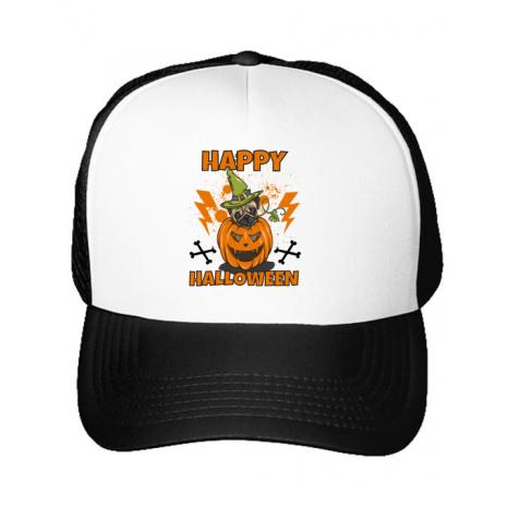 Sapca personalizata Halloween Pug Alb