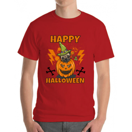 Tricou ADLER barbat Halloween Pug Rosu