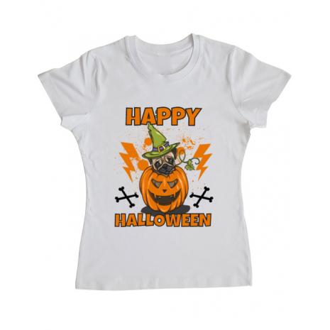 Tricou ADLER dama Halloween Pug Alb