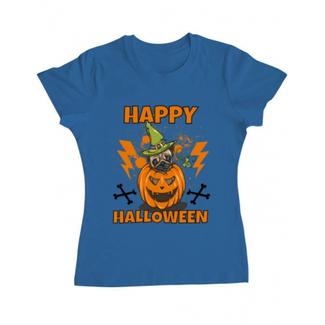 Tricou ADLER dama Halloween Pug Albastru azuriu