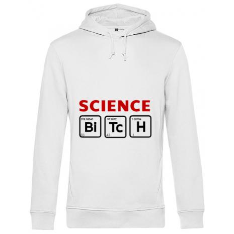 Hoodie barbat cu gluga Science Bitch Alb