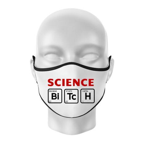 Masca personalizata reutilizabila Science Bitch Alb