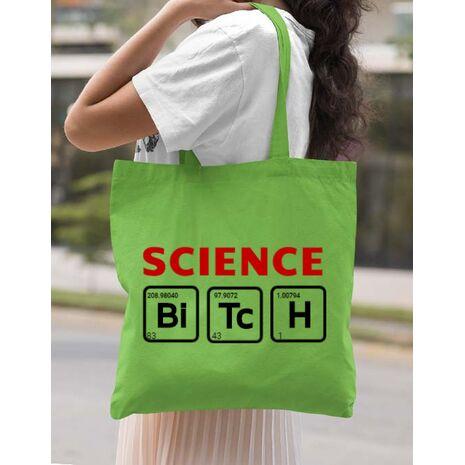 Sacosa din panza Science Bitch Verde mar