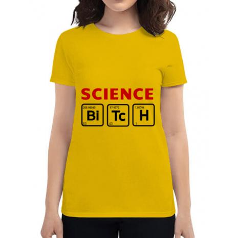 Tricou ADLER dama Science Bitch Galben