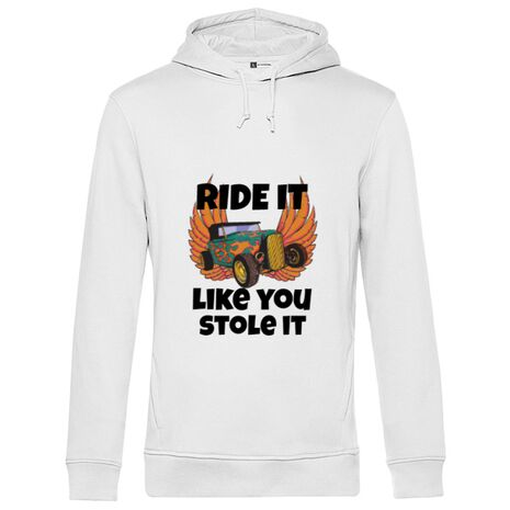 Hoodie barbat cu gluga Ride it like you stole it Alb