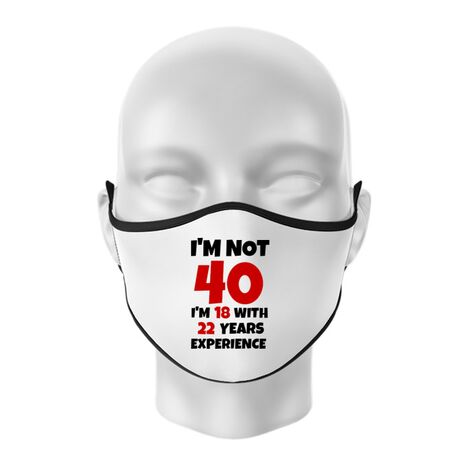 Masca personalizata reutilizabila 40 Birthday Alb