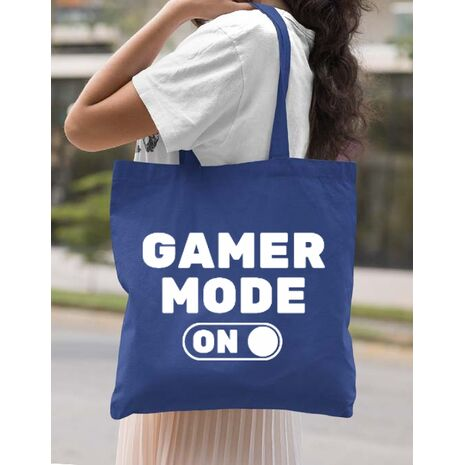 Sacosa din panza Gamer mode on Albastru regal