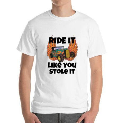 Tricou ADLER barbat Ride it like you stole it Alb