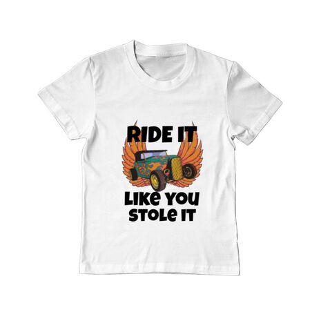 Tricou ADLER copil Ride it like you stole it Alb