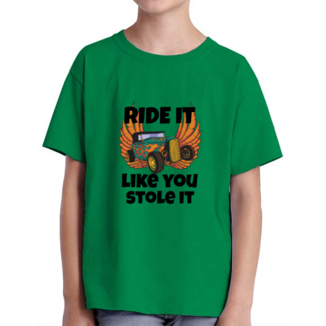 Tricou ADLER copil Ride it like you stole it Verde mediu