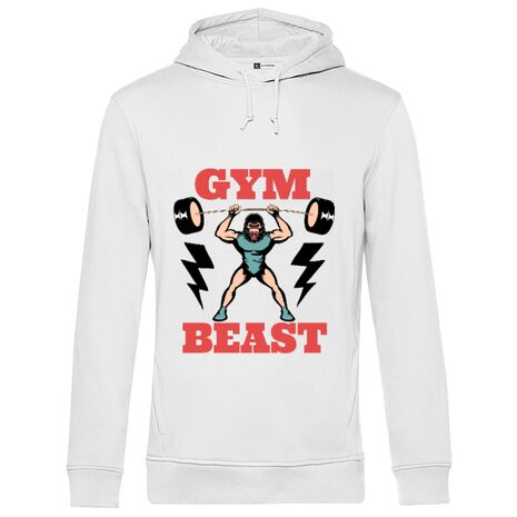 Hoodie barbat cu gluga Gym Beast Alb