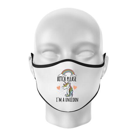 Masca personalizata reutilizabila Bitch Please Alb