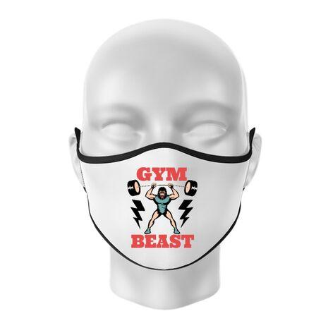 Masca personalizata reutilizabila Gym Beast Alb