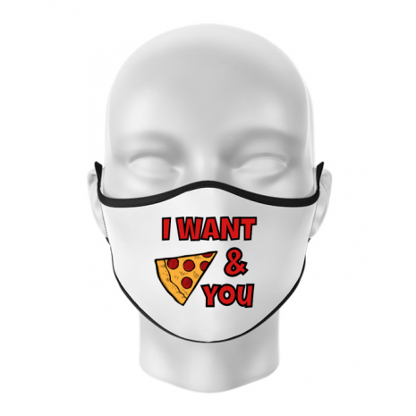 Masca personalizata reutilizabila I want you Alb