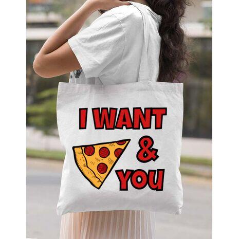 Sacosa din panza I want you Alb
