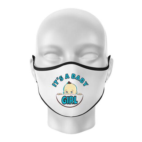 Masca personalizata reutilizabila It's a baby girl Alb