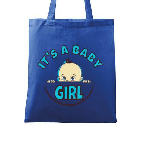 Sacosa din panza It's a baby girl Albastru regal
