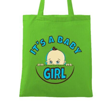 Sacosa din panza It's a baby girl Verde mar