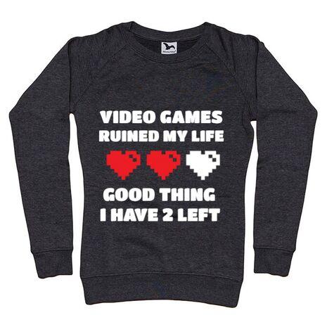 Bluza ADLER dama Video games ruined my life Negru melanj