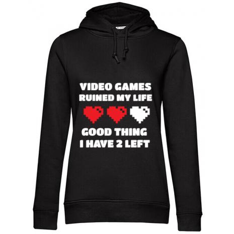 Hoodie dama cu gluga Video games ruined my life Negru