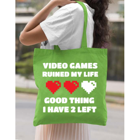 Sacosa din panza Video games ruined my life Verde mar
