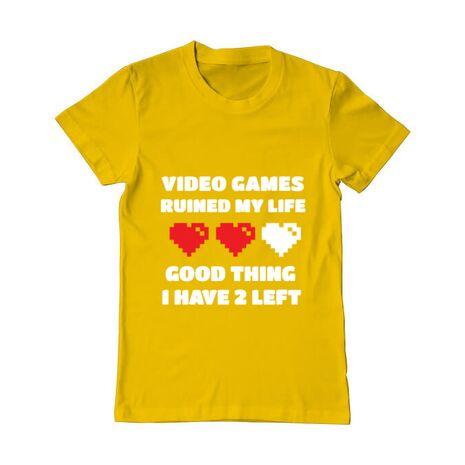 Tricou ADLER barbat Video games ruined my life Galben