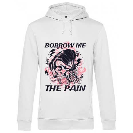 Hoodie barbat cu gluga Borrow me the pain Alb