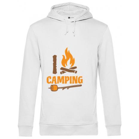 Hoodie barbat cu gluga I love Camping Alb