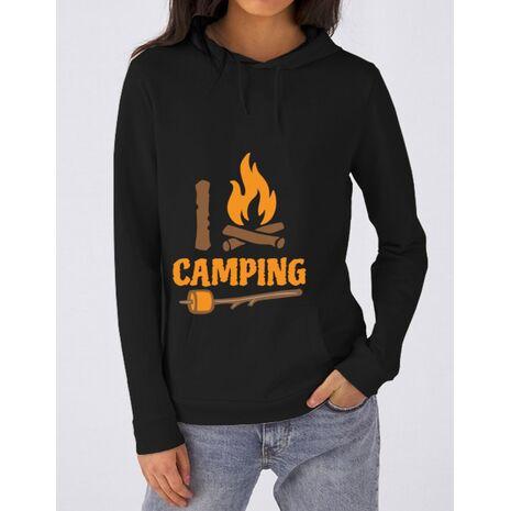 Hoodie dama cu gluga I love Camping Negru