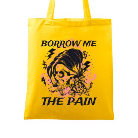 Sacosa din panza Borrow me the pain Galben