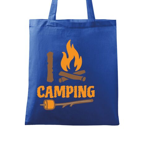 Sacosa din panza I love Camping Albastru regal