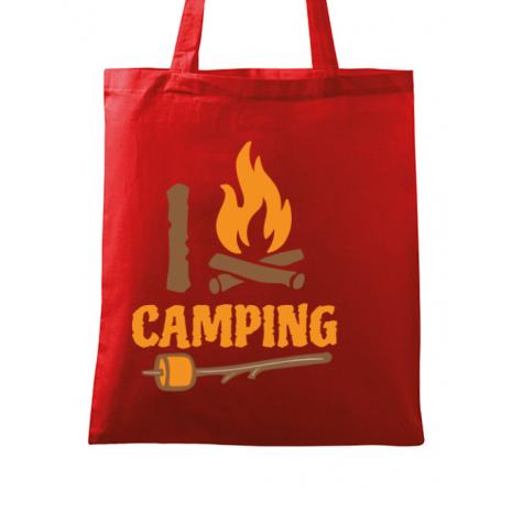 Sacosa din panza I love Camping Rosu