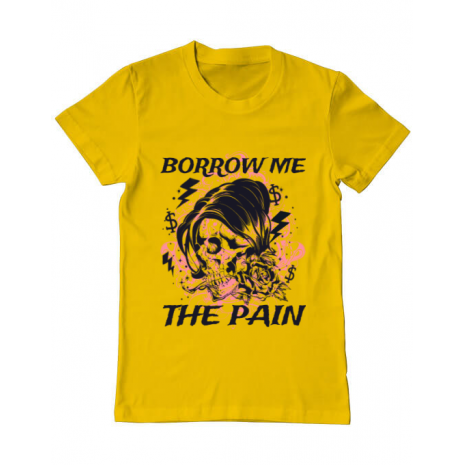 Tricou ADLER barbat Borrow me the pain Galben