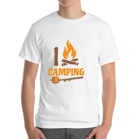 Tricou ADLER barbat I love Camping Alb