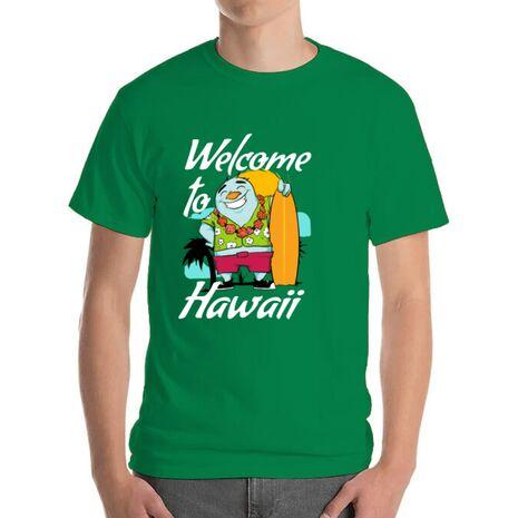 Tricou ADLER barbat Welcome to Hawaii Verde mediu