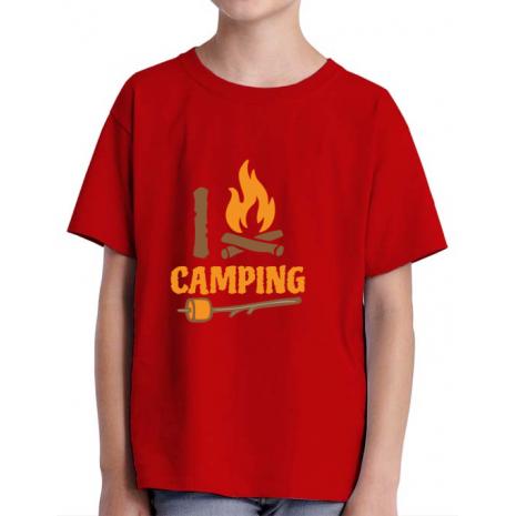 Tricou ADLER copil I love Camping Rosu