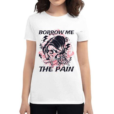 Tricou ADLER dama Borrow me the pain Alb