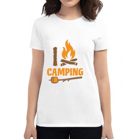 Tricou ADLER dama I love Camping Alb