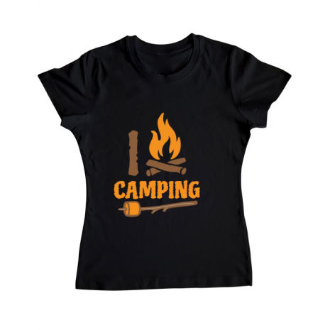 Tricou ADLER dama I love Camping Negru
