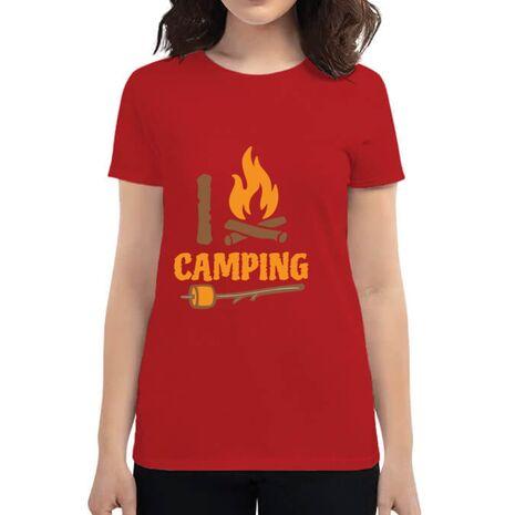 Tricou ADLER dama I love Camping Rosu