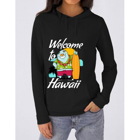 Hoodie dama cu gluga Welcome to Hawaii Negru