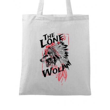 Sacosa din panza The lone wolf Alb